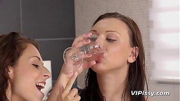 Lesbian Piss Drinking - Czech hotties enjoy face pissing and dildo play